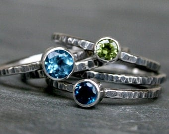 Island Colors Stacking Rings, Sterling Silver, London Blue Topaz Swiss Blue Topaz Peridot Faceted, Stackable Set of Five Stack Band Oxidized