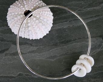 Puka Shell Bangle, 3 Pukas, Hawaiian Jewelry Maui, Stacking Bracelets, Stackable Bangle, Solid Sterling Silver, Hammered Finish
