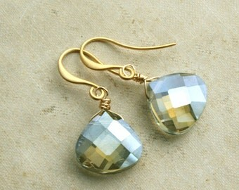 Olive Green Briolette Drop Earrings,Pale Green Teardrop Briolette Earrings, Green Gold Earrings, Weddings, Drop Earrings, Dangle Earrings