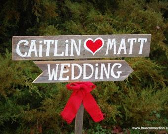 Charming Wedding Sign. Outdoor Weddings. Vintage Signs.  Hand Painted Reclaimed Wood. Rustic Weddings. Vintage Weddings. Road Signs.