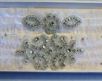 Bridal Garter with Toss Garter Set Applique with Lace Swarovski Crystals Vintage Inspired