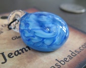Soft Glass lampwork Blue Twisty Pendant