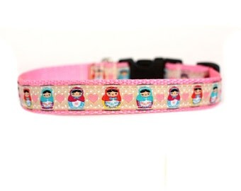 5/8 or 3/4 Inch Wide Dog Collar with Adjustable Buckle or Martingale in Matryoshka