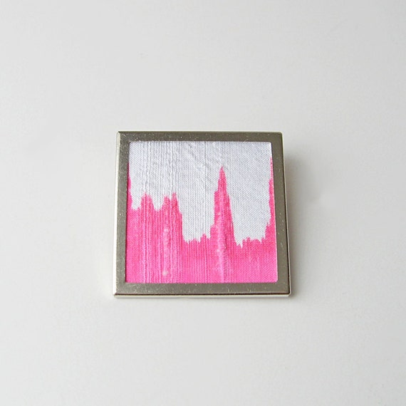 Bright pink brooch, Neon color jewelry, Dyed silk pin, Modern square brooch, Pink and white pin, Abstract design jewelry