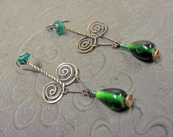 Rustic Copper twisted Pathways to Emerald, Earrings for Good Luck and Prosperity..