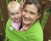 Gauze Baby Wrap Sling Carrier - Leaf Green Airy Cotton Gauze - 25 colors in shop