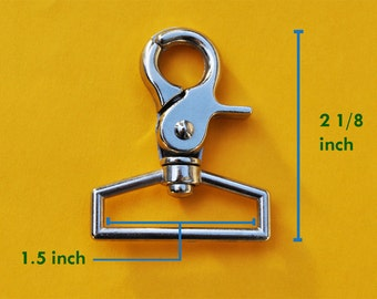 FREE SHIPPING--Heavy Duty High Quality 50 of 1.5 inch Inside Loop End Large Silver/Nickel Swivel Clasps Hooks