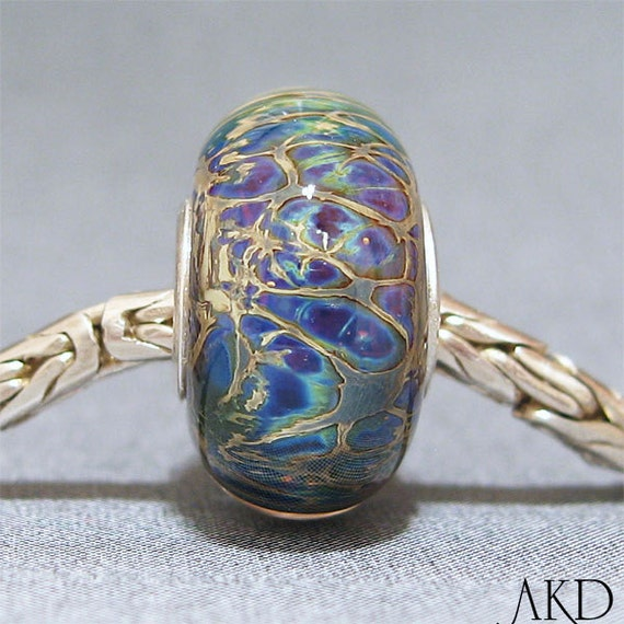 OOAK Euro Charm Glass Bead Handmade Lampwork Bead Jewelry Charm For Bracelet Sea Cavern
