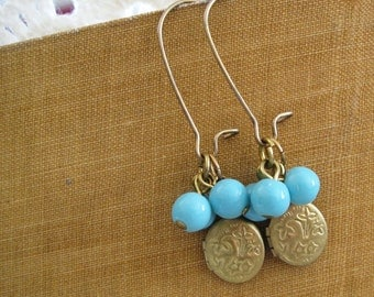 Charmed . Vintage Lockets, Aqua Beads, and Brass Dangle Earwires