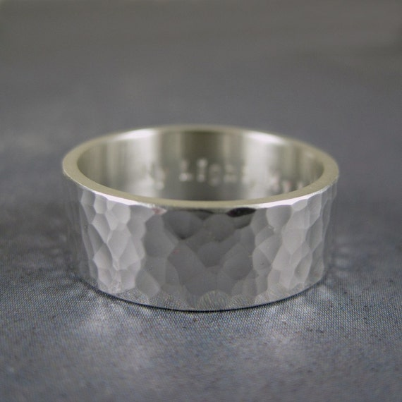 Personalized ring custom made in sterling silver with your choice of finish - 8mm wide