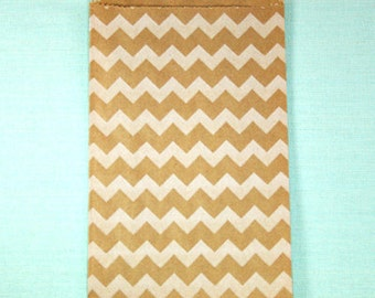 Kraft & White Chevron Paper Bags - Pack of 20 Middy Bitty bags