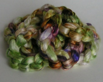 Silk Sliver Mulberry Roving Top Fiber EARLY GARDEN Luxurious Fine Quality Hand Painted for Handspinning Sample