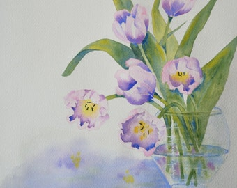 Art, Fine Art-Watercolor Painting of Pink and Purple Tulips in a Clear Glass Vase
