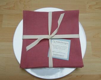 Set of 4 Organic Napkins, Hemp and Organic Cotton, Pink Napkins, Home Decor, Table Linens