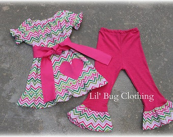 Chevron Valentines Day Lime Pink Knit Peasant Top And Knit  Pant Outfit