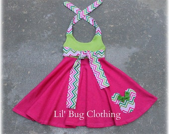 Custom Boutique Clothing Lime PInk  Chevron Minnie Mouse  Comfy Knit Summer Dress 12m 18m 2T 3T 4T 5T 6 7 8 9/10 Girl