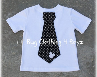 Custom Boutique Clothing Boys  Mickey  Mouse White Knit Black White Pin Dot Tie Tee