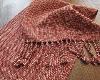 MADE TO ORDER HandWoven Coffee Table Runner Country Holiday Table Decor Rust Burnt Orange Red Brown Cream Cotton Hand Woven