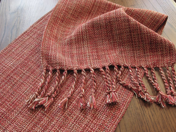 Items Similar To MADE TO ORDER HandWoven Coffee Table Runner Country  Holiday Table Decor Rust Burnt Orange Red Brown Cream Cotton Hand Woven On  Etsy