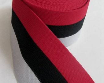 red, black, and gray extra wide striped elastic, 2 7/16 inches wide