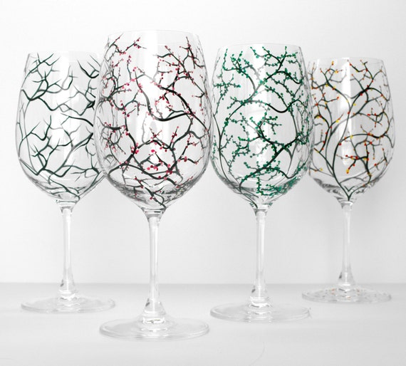 The Four Seasons Wine Glasses - 4 Piece Hand Painted Glassware Collection - Wedding Gift