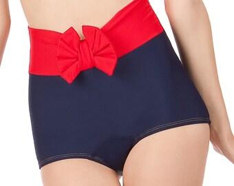 KATY High Waist Bow Retro Bikin Bottoms Sizes S, M, XL