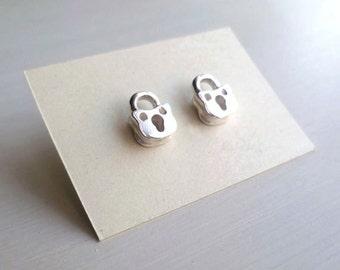 Padlock Earrings - Tiny - Sterling Silver - Industrial Chic - Miniature - Steampunk - Vintage Inspired - Padlock Studs - Mini -Stud Earrings