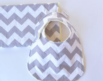 Baby Shower Gift Set, Grey Chevron Bib and Burp Cloth Unisex Baby Gift Set with Minky