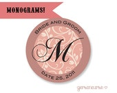 Monogramed Gift Bag Labels  - Jam and Jelly Labels  -  Cupcake Toppers - Monogram - Circle / DIGITAL FILE