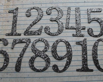 Numbers 1-10 CHARCOAL two tone glittered 2 inch tall SERIF numbers great for wedding table numbers