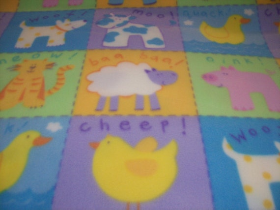 Squares Of Farm Animals Fleece Fabric By Fleeceme On Etsy