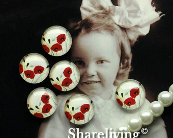 Glass Cabochon, 8mm 10mm 12mm 14mm 16mm 20mm 25mm 30mm Round Handmade photo glass Cabochons (Red Flower)  -- BCH193L
