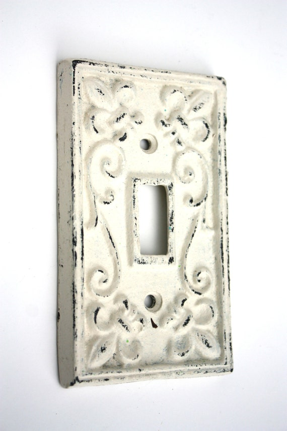 Shabby cottage chic cast iron switch plate cover - Wrought iron switch plate covers ...