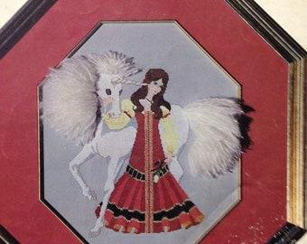 Vintage Cross Stitch Craft Book The Elusive Unicorn