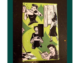 retro housewife switch plate vintage 1950's kitchen kitsch rockabilly light switch