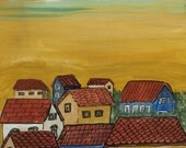 Reserved for Bernadette Beach Houses Original acrylic painting 16 x 20 inches by Kate Ladd