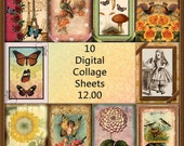 Great DeAL- 52% Off-10 For 12.00-QUaLITY Printable Collage Sheets JPG Digital Downloads-Alice, Romance, Flowers, Holidays, Animals, Children