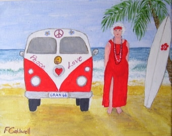 Gran and the Van - Original Gran Naive Sea and Surf Folk Art Painting 10 x 8 -