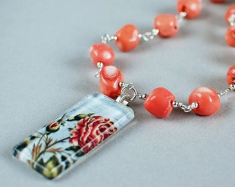 Coral Rose Glass Tile and Gemstone Necklace - Coral Gemstones - Glass Tile Necklace - Happy Shack Designs