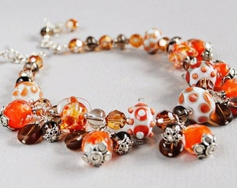 Creamsicle Lampwork and Crystal Statement Necklace - Statement Necklace - Lampwork Necklace - Orange and Cream - Happy Shack Designs
