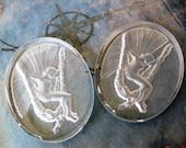 1 PC Vintage Art Nouveau fairy glass intaglio cameo - 40 x30 - VV09