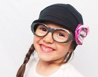 Black kids hat with flower. Children accessories