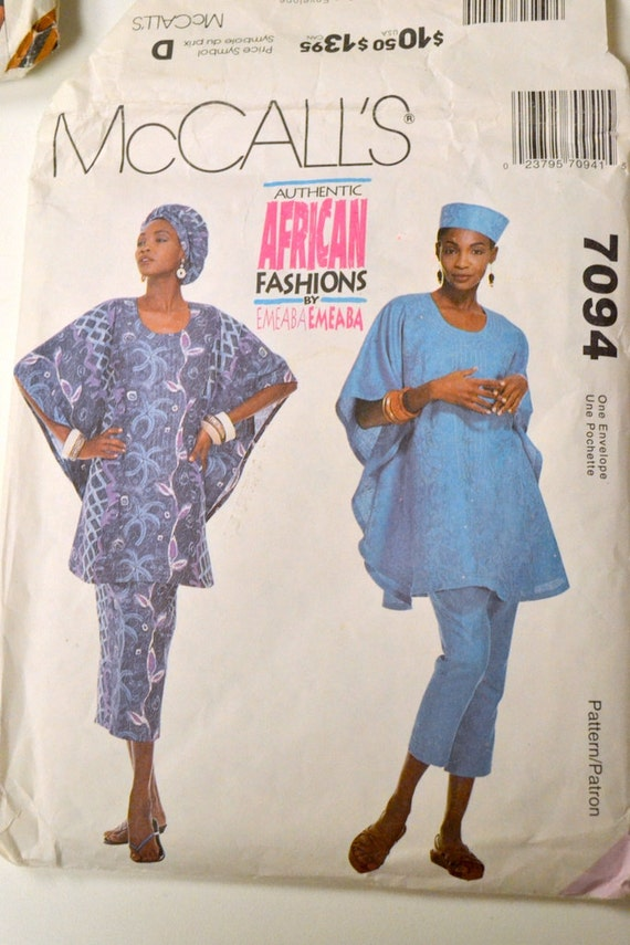 Sewing Pattern Mccall S 7094 African Fashions Uncut