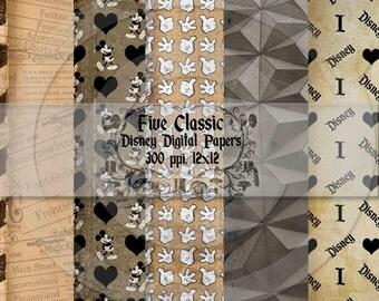Classic Disney Theme 12x12 Digital Paper Backgrounds for Digital Scrapbooking -INSTANT DOWNLOAD -