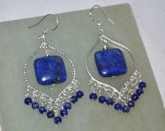 Lapis Earrings, Silver Earrings, Dangle Earrings, Chandelier Earrings, Sterling Silver, Gemstone Earrings, Fashion Jewelry