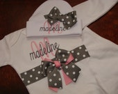 Personalized Monogrammed Infant Layette Gown and Beanie Hat Gift Set LoTS OF STyLeS and CoLoRS
