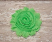 Chiffon Flower Hair Clip Neon Green Frayed Shabby Chic Rosette Fabric Flower Clippie