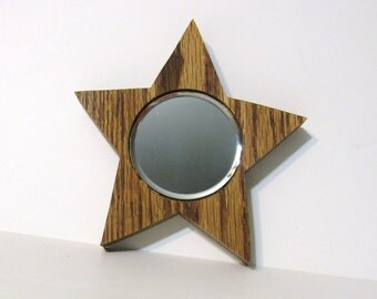 Star Mirror Made Of Oak wood With Beveled Glass