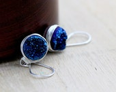 Druzy Silver Earrings, Blue Agates Bezel Wrapped Cobalt Drops in Sterling Silver, Gifts Under 50