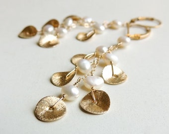 Cascade Earrings with White Pearl Modern Brushed Gold Bridal Wedding Fashion